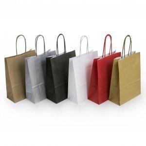 Spalvoti maišeliai suktomis rankenėlėmis