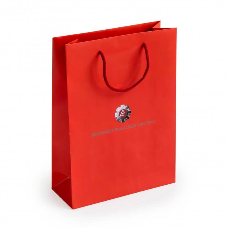 Prabangūs maišeliai virvelinėmis rankenėlėmis su spauda raudona spalva-min