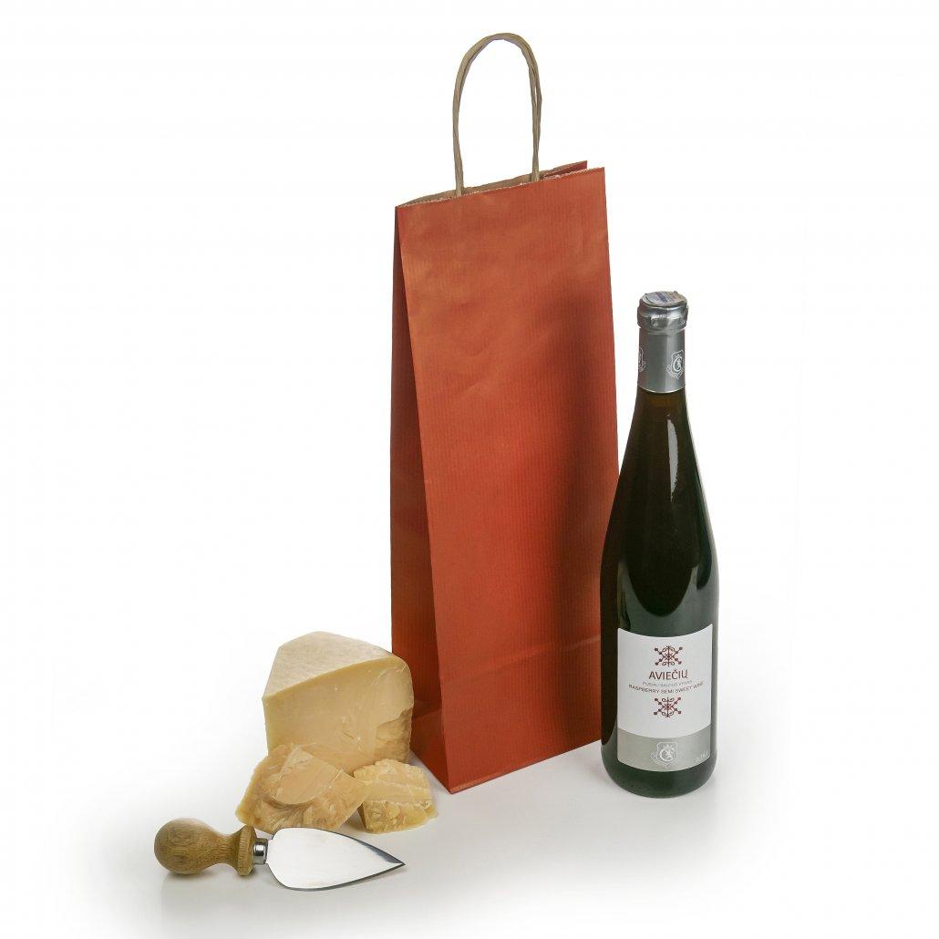 Tamsiai raudonas maiselis vyno buteliams