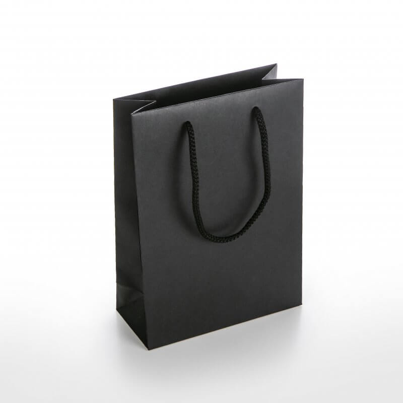 Prabangus Maišelis virvelinėmis rankenėlėmis 180 x 80 x 250 mm, juoda sp. juodas kartonas vidus juodas
