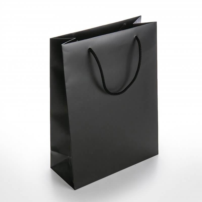 Prabangus Maišelis virvelinėmis rankenėėmis 240 x 105 x 330 mm, juoda sp.